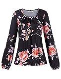 Clearlove – Camiseta de manga larga de cuello redondo y pliegues elásticos (paquete multiusos) Flores negras. S