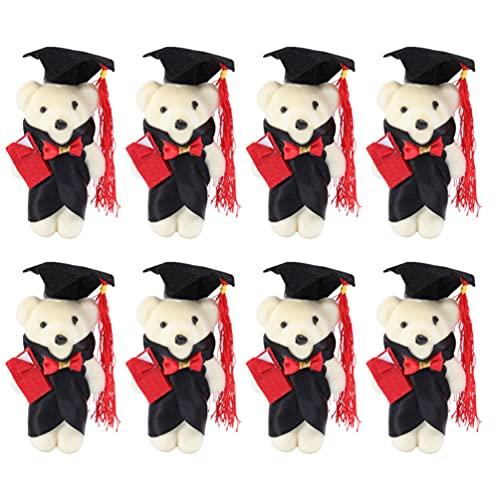 TOYANDONA 8Pcs di Laurea Teddy Bear con Il Diploma E Piazza Accademico cap per La Scuola Materna Elementare di Alta Scuola College Festa di Laurea