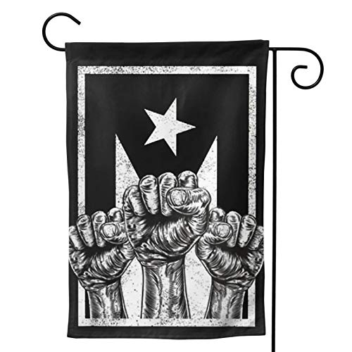MINIOZE Black and White Puerto Rican Puerto Rico Flag Party Themed Flag Welcome Outdoor Outside Decorations Ornament Picks Garden Yard Decor Double Sided 12.5X 18 Flag