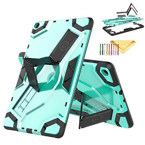 Cookk Galaxy Tab A 10.1 Inch 2019 Case SM-T510/T515, Shockproof Heavy Duty [Kickstand Feature] [Hand Strap] Military Armor Hybrid Shield Case for Samsung Galaxy Tab A 10.1' 2019, Mint