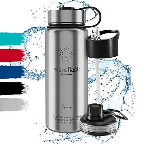 Trinkflasche Edelstahl ACTIVE FLASK + Strohhalm (3 Deckel), BPA frei, Auslaufsicher, Kohlensäure geeignet - Wasserflasche Thermosflasche Thermo Isoliert Isolierflasche Sport Wasser Flasche Kinder Tee