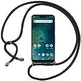 Ingen Funda con Cuerda para Xiaomi Mi A2 Lite - Carcasa Transparente TPU Suave Silicona Case con Colgante - Negro