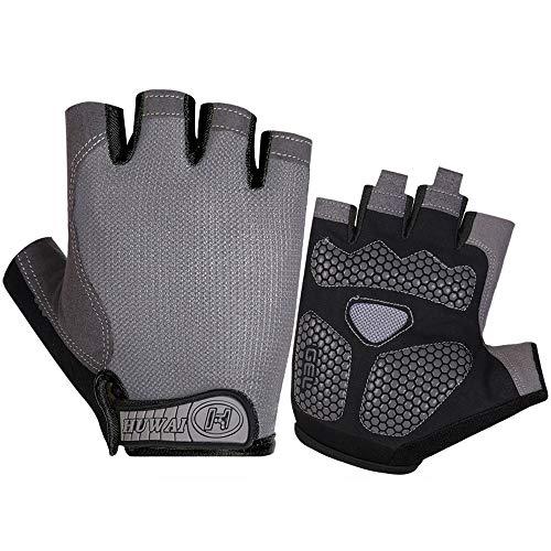 Athyior Fietshandschoenen - Halve vinger Gewichthefhandschoen Ademend Mesh Gel Gewatteerd Antislip Schokabsorberend voor Gym Fiets Mountain Racefiets Training voor Unisex