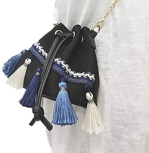wen hui Damen Tasche Ethno-Stil Quaste Bucket Bag Canvas Pumping Bag Female Shoulder Diagonal Bag Einheitsgröße Schwarz