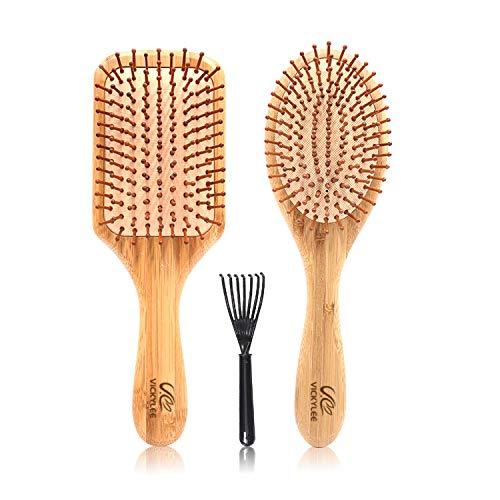 VICKYLEE 2PCS Set pettini per capelli in bambù naturale di grandi dimensioni (rettangolo + ovale) Spazzola districante con...