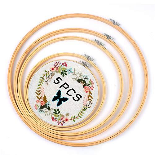 5 aros de bordado redondos de 5 tamaños para punto de cruz, accesorios de punto de cruz, de bambú, para manualidades y costura.