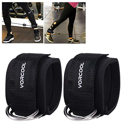 VORCOOL 2PCS Ankle Straps for Cable Machines Weightlifting Gym Workout Fitness Double D-Ring Neoprene Padded Ankle Cuffs for Legs, Abs and Glute Exercises Fits for Men&Women with Carry Bag