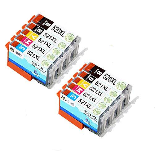 AA+inks 10 confezione da Sostituzione per cartuccia d'inchiostro Canon PGI-520 CLI-521 compatibile per Canon PIXMA IP3600 IP4600 MP540 MP620 MP630 MP980 MX860 IP4700 Printers