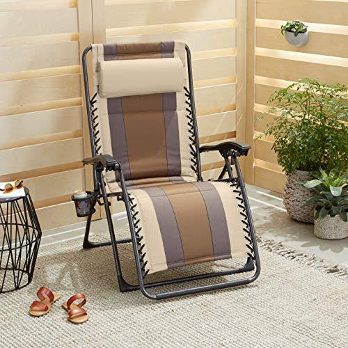 Amazon Basics - Set de 2 sillas de playa acolchadas para exteriores con gravedad cero - 165 x 74,9 x 112 cm, de color beis