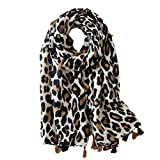 Fenical Sciarpa leopardata Sciarpa con stampa animalier Sciarpa lunga Scialle in cotone Sciarpa regalo Sciarpa con stampa leopardo