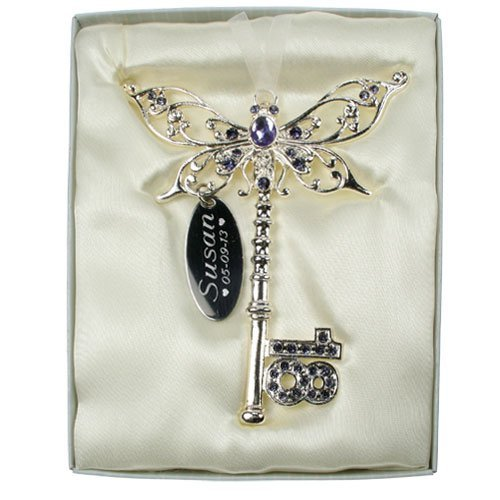 Personalised Engraved 18th Birthday Celebration Key Lilac