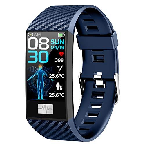 BNMY Smartwatch Reloj Inteligente Temperatura Impermeable IP67 para Hombre Mujer Niños Pulsera Actividad Inteligente con Monitor Sueño Contador Caloría Pulsómetros Podómetro para Android iOS,Azul