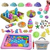 La Gacela 砂遊び おもちゃ 室内遊び 砂遊び 型 砂粘土 750g 付き収納ボックス 知育玩具 室内砂場セット