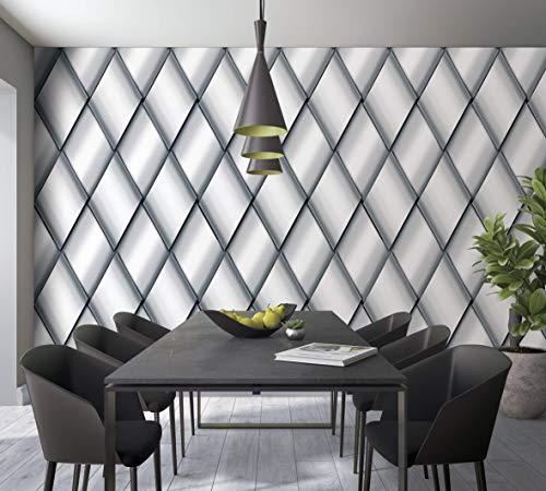 Fototapete Grau - Caro, Raute, Kacheln, Illusion - XXL Made in Germany - 1,06 x 2,70m - Smart Art 46787
