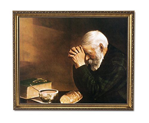 Daily Bread Man Praying At Dinner Table Grace Religious Picture Gold Framed Wall Art Print