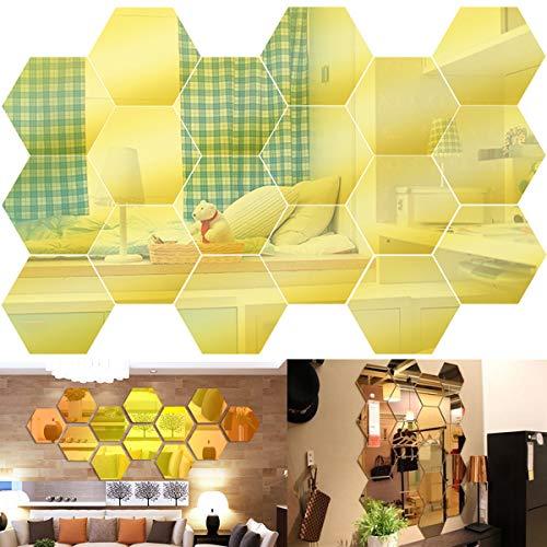 ToPicks Spiegelfliesen Selbstklebend, Wandaufkleber Spiegel Gelb, Wandspiegel Mosaik, Wanddekoration für Badezimmer Wohnzimmer 18 Stück