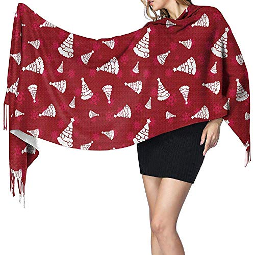 Large Soft Artificial Cashmere Pashmina Christmas Trees Womans Scarf Wrap Warm Shawl
