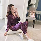 YSKDM Pijama Sexy Sets Satin Pyjama Sleepwear Long Sleeve Large Size Pajamas for Women Nightwear New Suit Homewear M -5XL,Purple,XXL