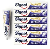 Signal Dentifrice Complet Integral 8 Antibactérien, Zinc Minéral d'Origine Naturelle, Action Anti-Plaque, Douceur, Protection & Soin Complet (Lot de 6x75ml)