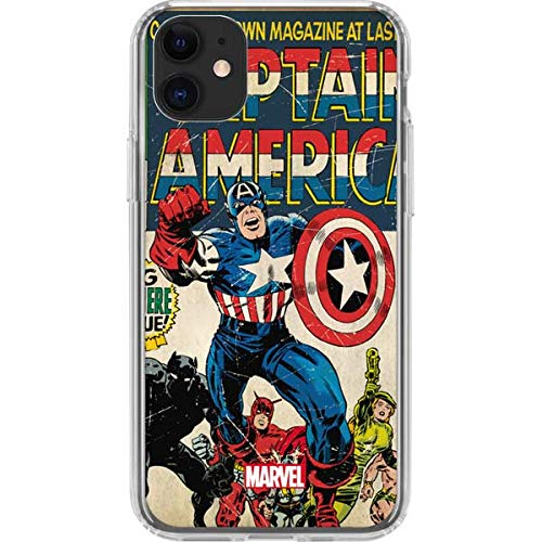 Skinit Clear Phone Case for iPhone 11 - Officially Licensed Marvel/Disney Captain America Big Premier Issue Design