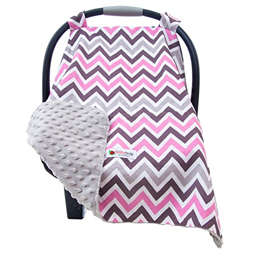 Carseat Canopy Cover for Babies - Soft Minky Carrier Cover for Baby Girls - Perfect Baby Shower Gift & Ideal for Winter