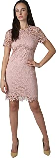 Women's Short Sleeve Mock Neck Chemical Lace Dress with Illusion Shoulders & Back Bodice