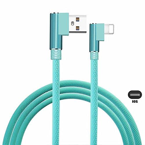 Codo Derecha Ángulo iPhone Cable,KAIBSEN Nylon Trenzado 90 Grados iPhone Datos Cable Rápido Sincronizando Transferir por iPhone X/8/7/7 Plus/6/6S/6S Plus/5/5s/iPad/iPod y más
