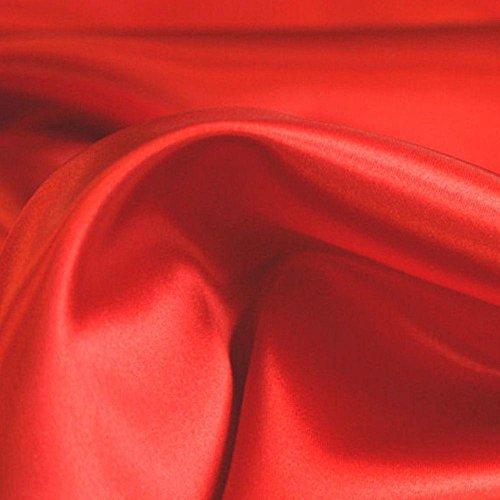 TOLKO 1m Glanz Satin | Modestoff Dekostoff Kostümstoff zum Nähen Dekorieren | Gardinenstoff Vorhangstoff Hochzeitsstoff Weihnachtsstoff Glitzer Satinstoffe/Nähstoffe Meterware 150cm breit (Rot)