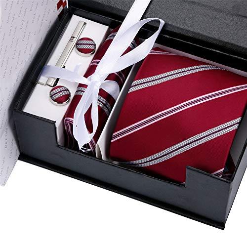 WUNDEPYTIE Herren Krawatte Ankleiden Business-Vorstellungsgespräch Ehe Student England Sechs-Teiliges Set Geschenkbox, Damast Rot