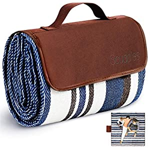 Extra Large Picnic & Outdoor Blanket Dual Layers for Outdoor Water-Resistant Handy Mat Tote Spring Summer Blue and White…