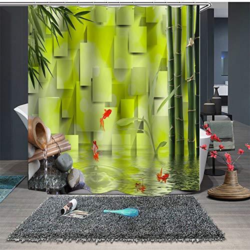 YEDL Cortina de Ducha a Medida Cortina de baño Partición Adoquín Bambú Pez Verde 180 × 180Cm
