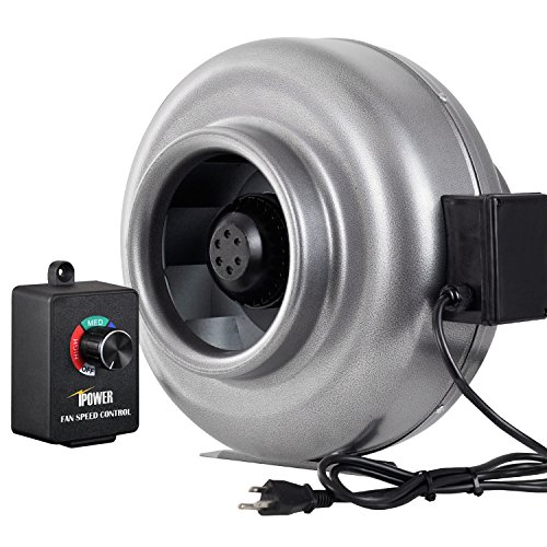 iPower GLFANXINLCTR8 8 Inch 750 CFM Duct Inline HVAC Exhaust Blower Ventilation Fan with Variable Speed Controller, 8', Grey