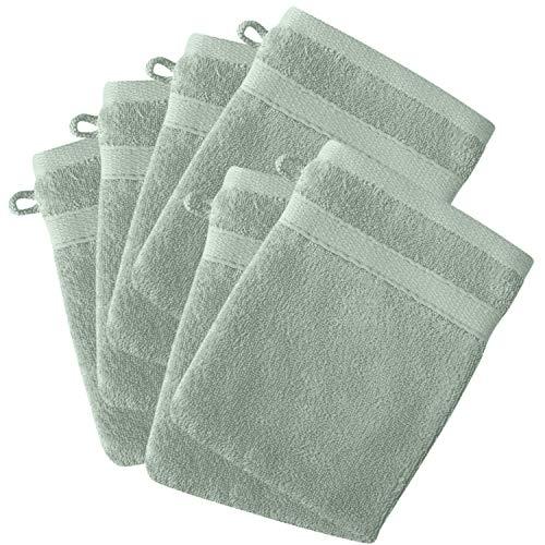 Sohyge – Juego de 6 guantes de baño 100 % algodón 500 gr/m2, ecológicos sin productos químicos Oeko-Tex – 6 guantes de baño (16 x 21 cm) suaves y absorbentes (verde, set de 6)