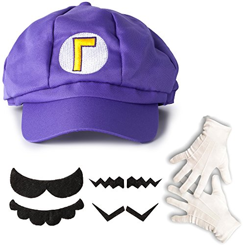 Katara 1659 Kit de Super Mario - Casquette de Walugi, Gants Blancs, 6 Fausses Moustaches Enfants Adultes Cosplay, Violette