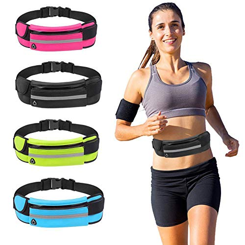 ITravoo Running Belt Waist Pack, Water Resistant Runners Belt Fanny Pack for Hiking Fitness, Adjustable Sport Fanny Pack Great for All Kinds of Phones iPhone Android Windows (Black)