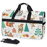Bolsa de viaje con diseño de bosque navideño para mujer y hombre