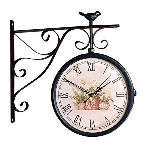 Reloj Reloj de Pared de Doble Cara Casa de Campo Sin tictac Funciona con Pilas Vintage Sala de Estar Europea Dormitorio Decoración de Aves rústicas Relojes 3D