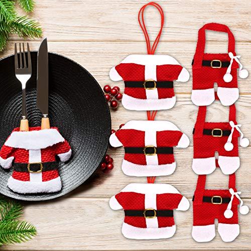 Morfone Weihnachten Besteckhalter Bestecktasche 6pcs, Weihnachtsdekoration Sankt-Klage Weihnachtsdeko Tisch, Weihnachtsservietten Weihnachtstischdeko für Messer und Gabel(6 Stücke)