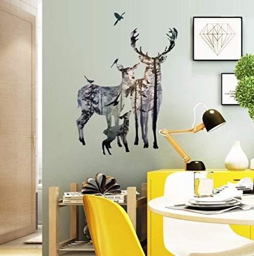 Familia de renos pegatina de arte de pared 3d para tienda Bar Oficina dormitorio decoración del hogar animales Diy Mural arte Pvc calcomanía de pared
