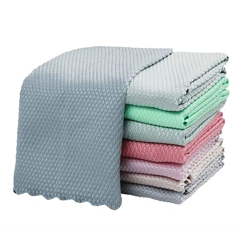 RUONING 10 paños de limpieza de microfibra para pulir, reutilizables, sin pelusa, toallitas absorbibles (color al azar)