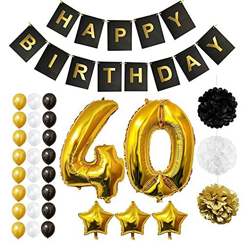 BELLE VOUS Decoración Cumpleaños # 40 Globos Aluminio Número y Estrella – Pancarta Reutilizable Happy Birthday Negro y Dorado – Globos Cumpleaños Látex Negro, Blanco y Dorado - Pompones para Decorar