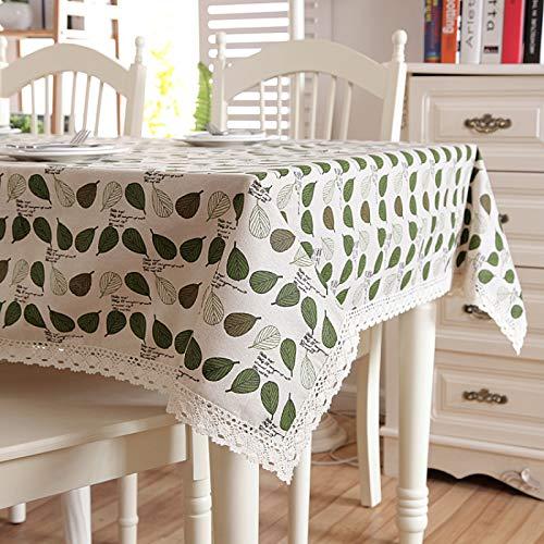 XGguo Mantel, con relieves, Lavable, tamaño a Elegir, Encaje Pastoral pequeña Hoja Verde de algodón y Lino