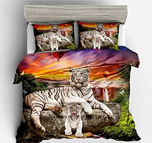 Juego de funda de edredón Super King,Animal Tiger, Morning Glow Bedding impreso,con cremallera ultra suave microfibra funda de edredón y 2 fundas de almohada