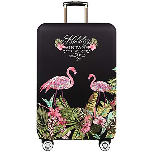 TRAVELKIN Travel Elastic Spandex Suitcase Protector Case, 18/24/28/32 Inch Suitcase Protective Cover, Thickened and Washable Luggage Cover (L(25'-28'luggage), Flower Flamingo)