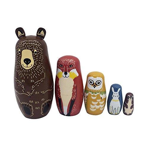 OOOUSE Matrjoschka Matroschka, handgefertigt, Holz, Tier-Nistpuppen, russische Wunschpuppen, Matroschka, für Kinder, Weihnachten, Geburtstag, Heimdekoration (Animal 02)