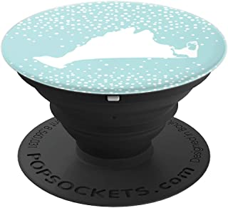 Cute Martha`s Vineyard Map Silhouette - Mint Polka Dot PopSockets Grip and Stand for Phones and Tablets