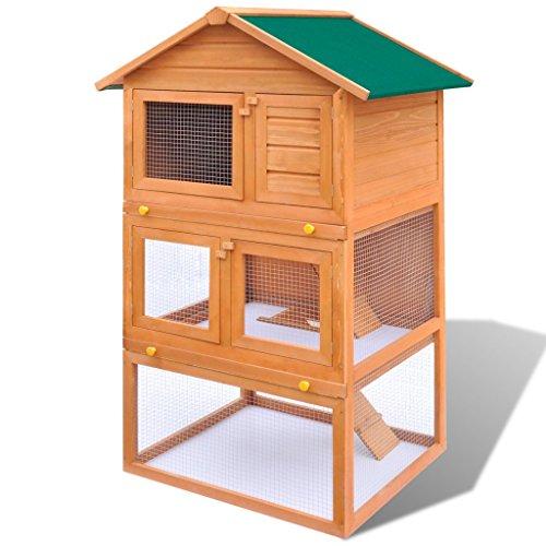 Festnight Cage Clapier Extérieur en Bois 80 x 71 x 160 cm pour Lapins 3 Etages