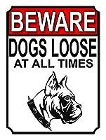 常に犬が緩んでいることに注意してください メタルポスタレトロなポスタ安全標識壁パネル ティンサイン注意看板壁掛けプレート警告サイン絵図ショップ食料品ショッピングモールパーキングバークラブカフェレストラントイレ公共の場ギフト