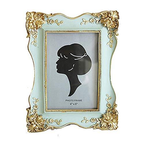Vintage Picture Frame 4x6 Antique tafelblad Wall Opknoping fotolijst met glazen pui for Decor van het Huis (Color : Blue, Size : 4x6)