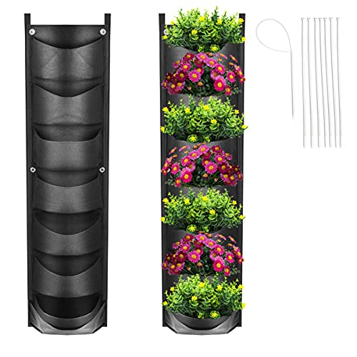 Upgraded Vertical Garden Hanging Planter with 7 Pockets, Wall Planters Fence Planters for Yard Garden Home Decoration